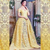 dress,mnm couture,ball gown dress,strapless,off the shoulder,evening dress,yellow dress,lace dress,prom dress,princess dress