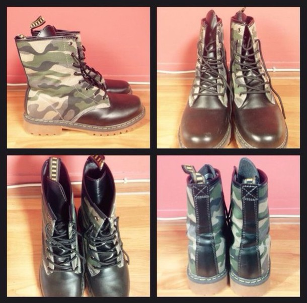 shoes flat boots combat boots camouflage