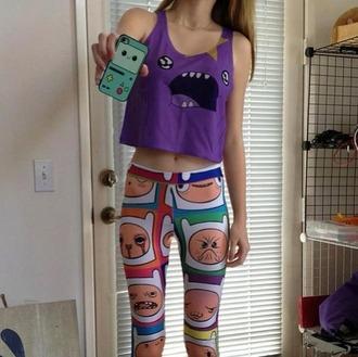 jeans finn the human tank top bag t-shirt purple adventure time cartoon lumpy space princess lsp shirt