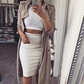 coat,trench coat,jacket,shirt,top,knitwear,white,skirt,pencil skirt,hot,outfit,tumblr outfit,summer outfits,outfitgoals,tumblr,summer,dress