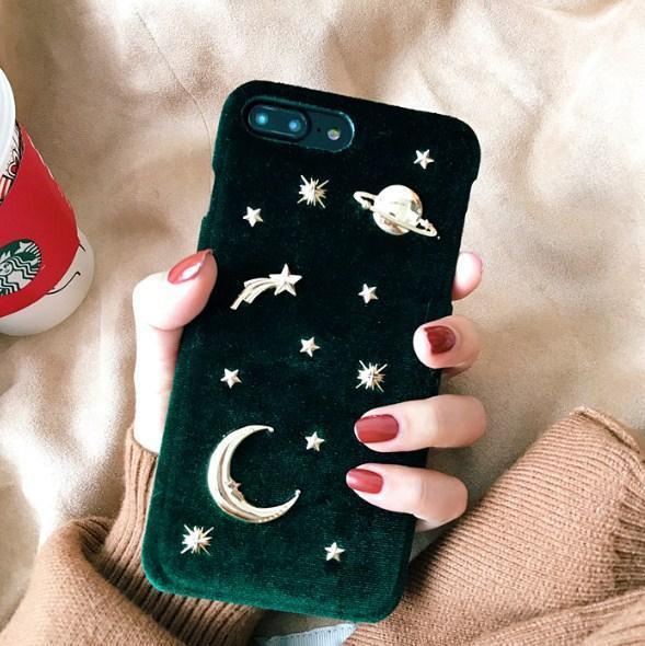 VELVET RED GREEN BLUE STARS MOON NIGHT SKY METALLIC RIVETS IPHONE COVER