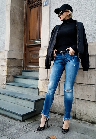 jeans tumblr blue jeans denim ripped jeans sweater black sweater jacket black jacket black bomber jacket bomber jacket pumps high heel pumps pointed toe pumps belt fall outfits cap black baseball hat