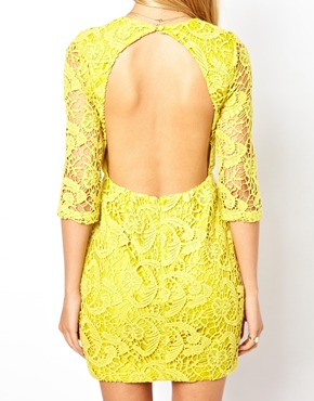 ASOS Petite | ASOS PETITE Exclusive Shift Dress In Crochet Lace With Cut Out Back and 3/4 Sleeve at ASOS