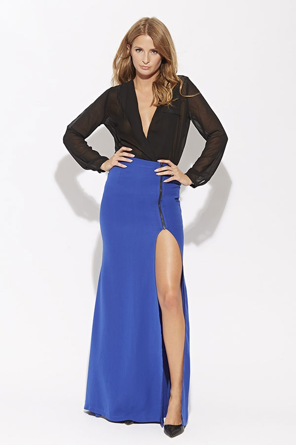 high slit maxi skirt cobalt - SEPARATES