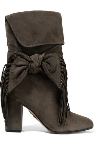 bow dark embellished boots suede boots suede shoes