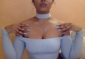 top,choker necklace,crop tops,light blue,pastel blue,cross,t-shirt,blue shirt,jewels,sky blue,off the shoulder