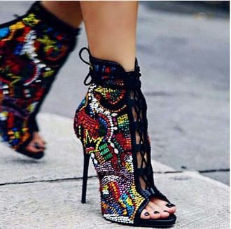 shoes boots summer boots street fashion summer ankle boots high heels embellished emirates