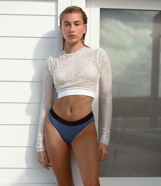 top mesh mesh top bikini bottoms hailey baldwin instagram swimwear model underwear