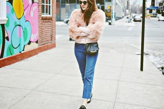 color me nana blogger mom jeans fluffy pink jacket jacket sweater jeans bag shoes sunglasses
