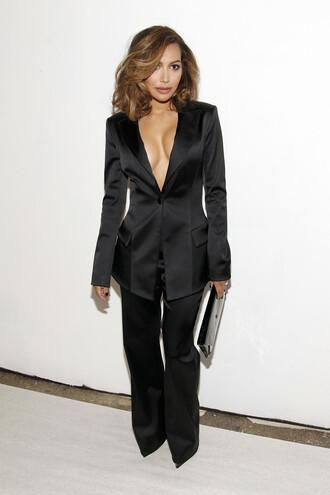 pants blazer all black everything fashion week 2016 naya rivera plunge v neck suit ny fashion week 2016
