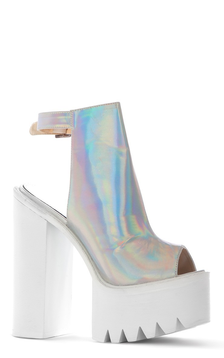 Carmen Holographic Sling Back Cleated Sole Shoes - Shoes - PrettyLittleThing.com | PrettyLittleThing.com