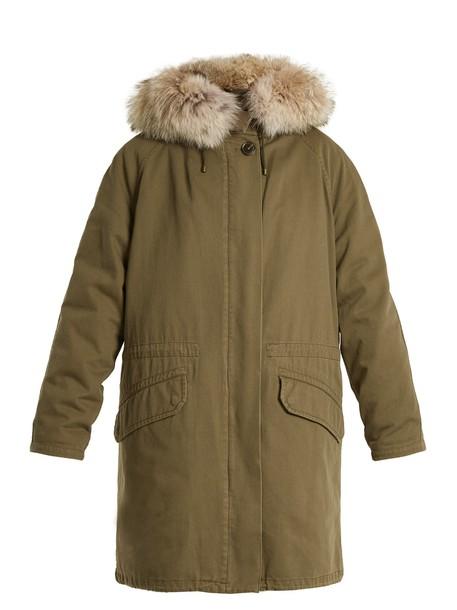 YVES SALOMON ARMY parka fur cotton khaki coat