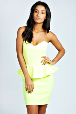 Leoni Neon Peplum Dress at boohoo.com