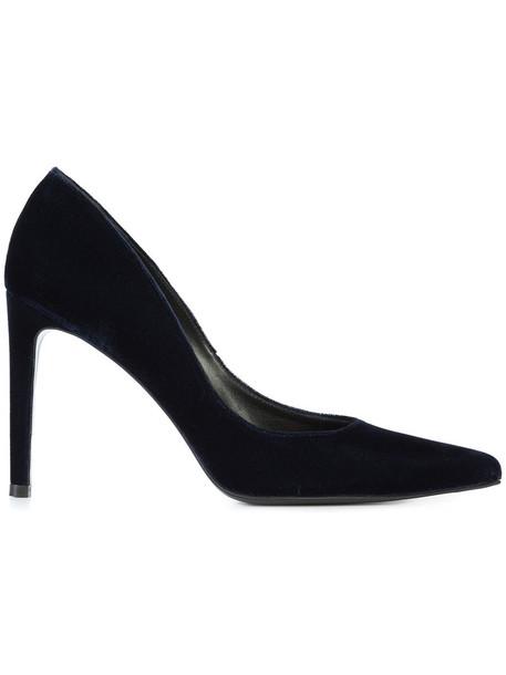 STUART WEITZMAN women pumps leather blue velvet shoes