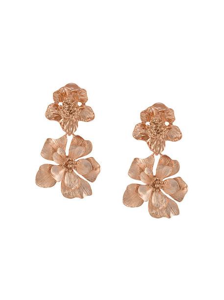 oscar de la renta women earrings gold grey metallic jewels
