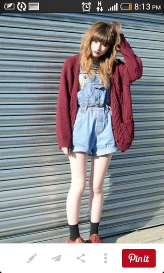 cardigan knitted cardigan soft grunge denim overalls romper