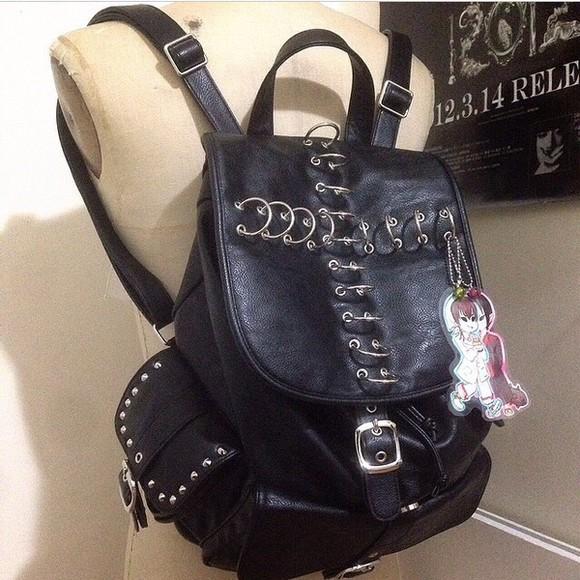 leather bag bag goth bag canvas