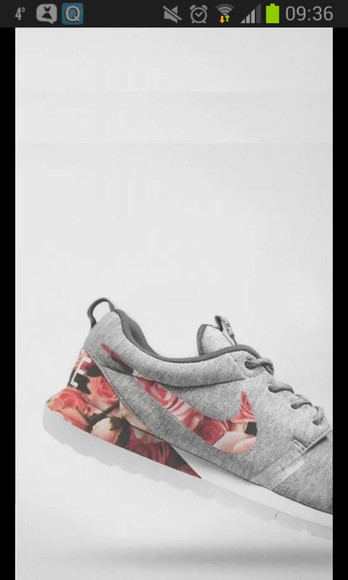 girls shoes nike roses flowers grey nikes