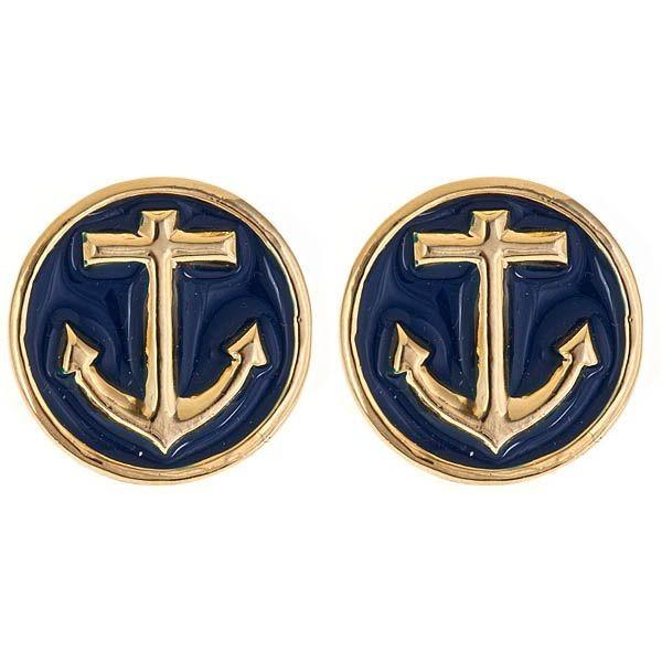 Anchor Earrings - Navy Blue - Red - White