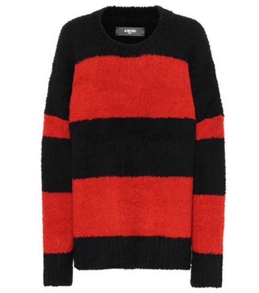 Amiri Striped wool-blend sweater in red