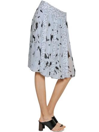 skirt chiffon skirt chiffon pleated silk black lilac