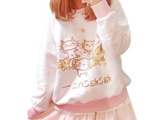 blouse sweater kawaii cats pastel cute lolita harajuku emo cutie cutesy neko long sleeves