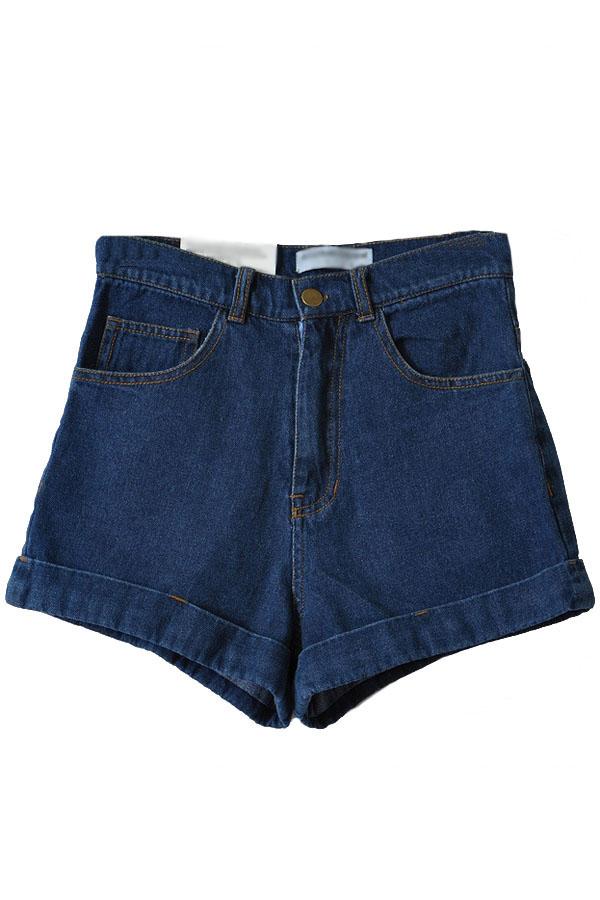 Dark Blue High Waist Roll-up Denim Shorts