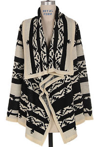 Winter New Black Tribal Aztec Print Indian Open Cardigan Sweater s M L | eBay