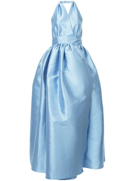 Alexis Mabille gown women backless blue silk dress