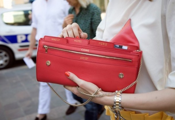 leather clutch organizer red d&g red bag