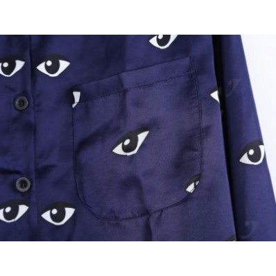 Blue Lapel Long Sleeve Eyes Print Blouse