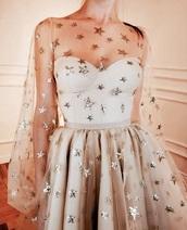 dress,white,stars,tulle skirt,tulle dress