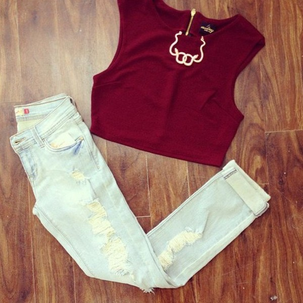 jeans crop tops ripped jeans burgundy necklace shirt