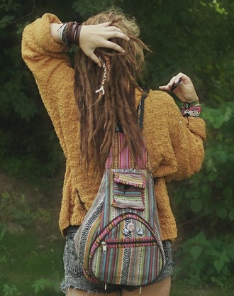 sweater mustard sweater hippie dreads bag bracelets high waisted shorts jumper cardigan jewels shorts