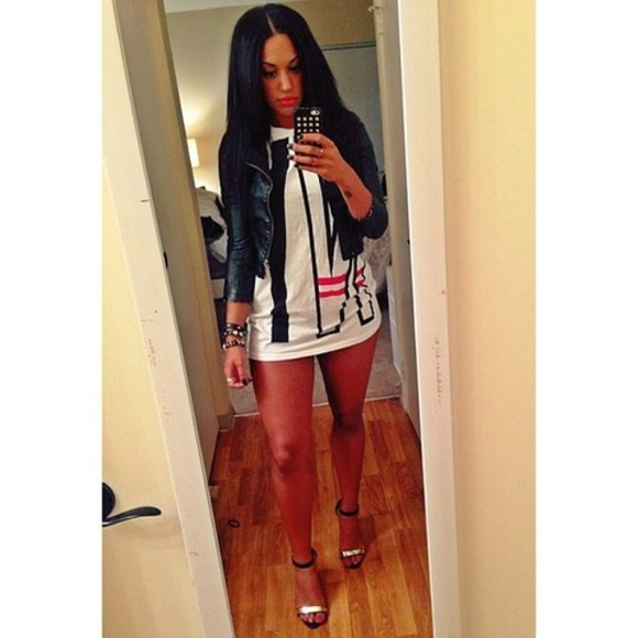 jacket jewels swag tumblr iphone case white dress black red high heels sandals black&white leather jacket short dress black hair straight instagram facebook them all this outfit look beautiful bracelet mirror red lips blogger shoes