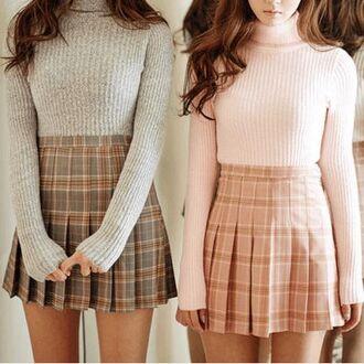 sweater pastel plaid skirt top turtleneck