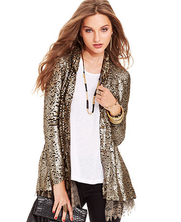 Free People Jacket, Sequin Lace-Hem - Jackets & Blazers - Women - Macy's