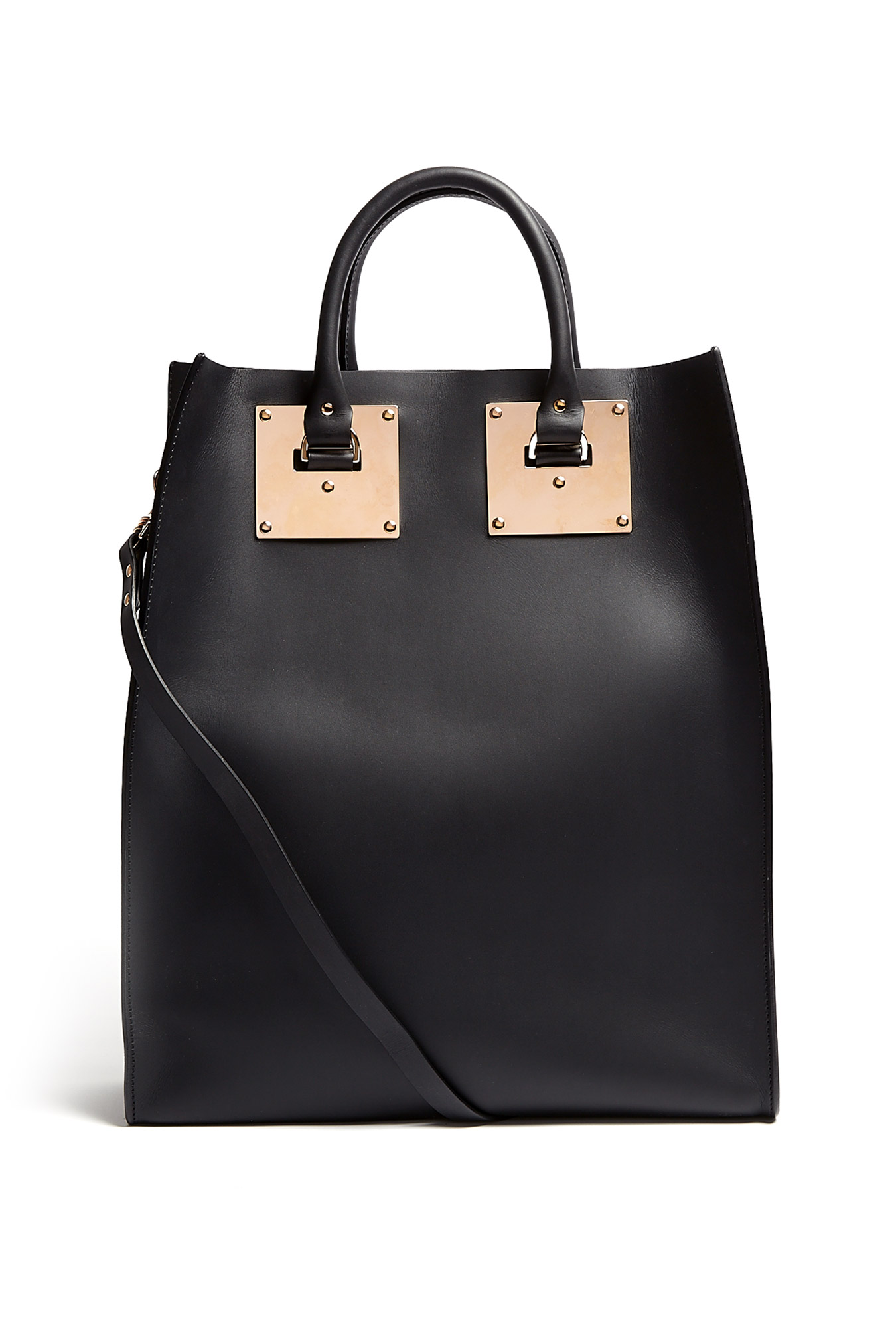 Black Large Structured Leather Tote Bag by Sophie Hulme