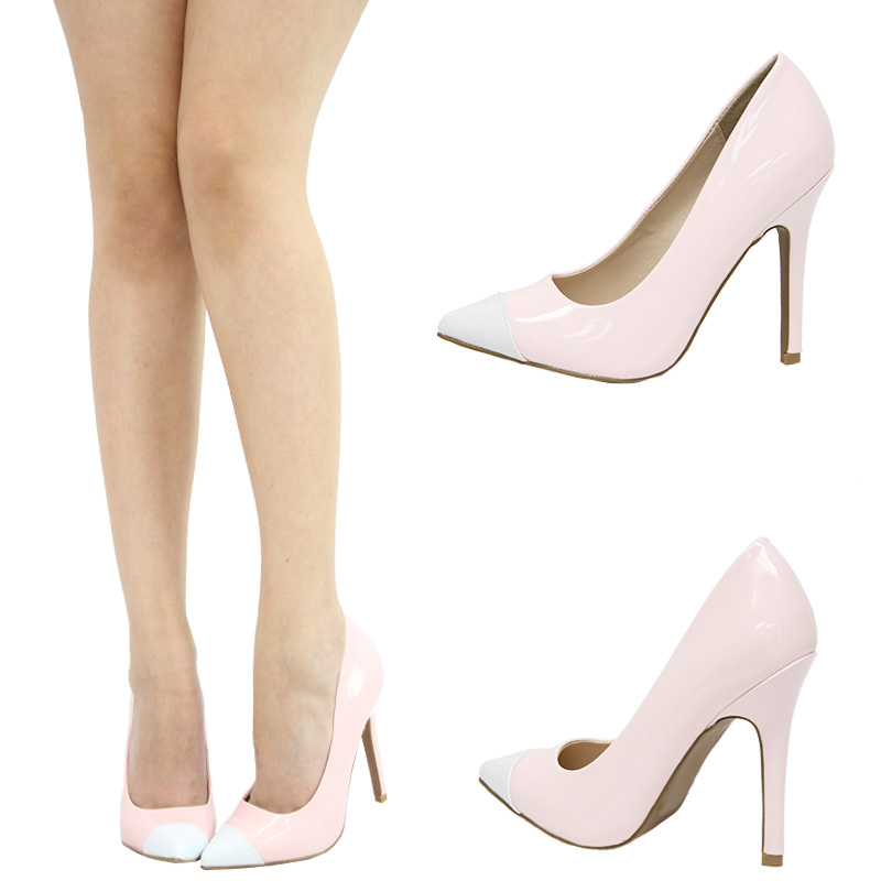 393d90ee5bef Blush Light Pink White Two Tone Pointy Toe High Heel Stiletto ...