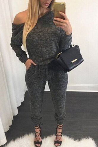 jumpsuit sporty casual fashion style casual skew collar gray self-tie long sleeve jumpsuit for women cool grey stylish rose wholesale chic off the shoulder indie grey outfit grey jumpsuit