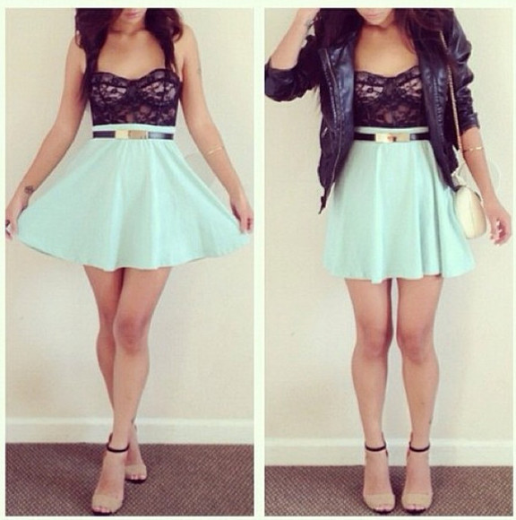 skirt cute mint green skater skirt blue black gold short girly top mint belt jacket dress leather jacket blouse black lace top lace tube top dress, jewels