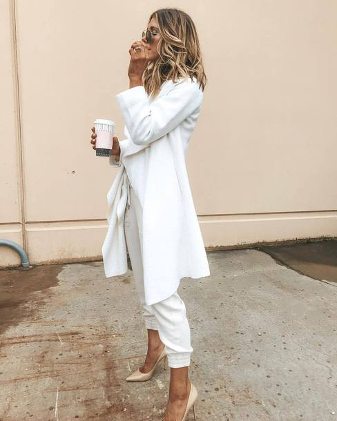 coat white coat pumps sunglasses ring white pants