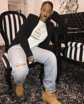 t-shirt,feminist,feminist tshirt,equality,quote on it,white t-shirt,black blazer,blazer,denim,jeans,blue jeans,ripped jeans,boots,timberland,camel,rihanna,celebrity,shirt