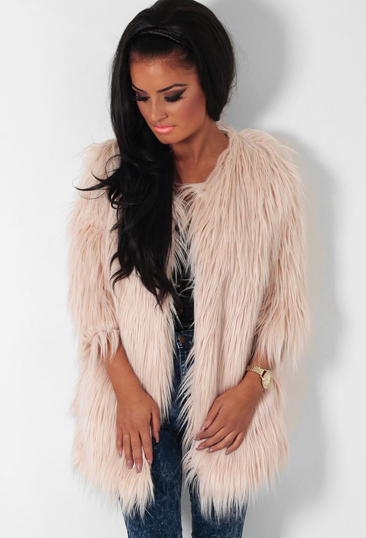 Dusky Light Pink Faux Fur Fleece Lined Coat | Pink Boutique