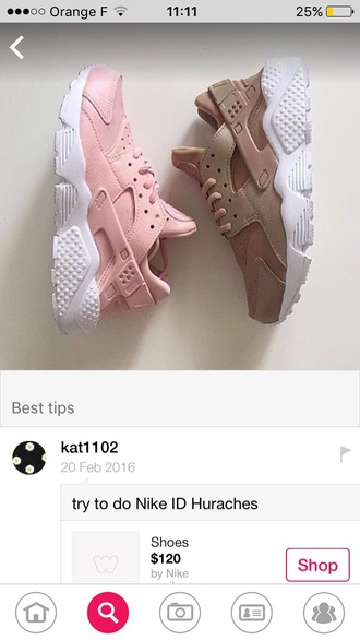 shoes light pink huarache nike pink sneakers sports shoes sportswear workout