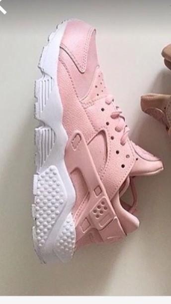 shoes light pink huarache nike pink sneakers sports shoes sportswear workout