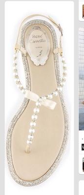 shoes,rene caovilla,diamonds,pearl,flat sandals,sandals