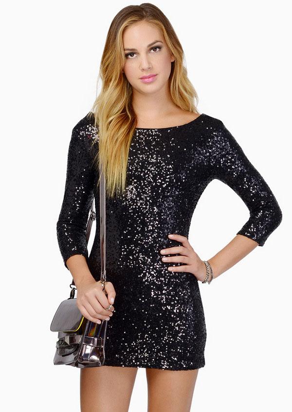 Black round neck sequined slim bodycon dress