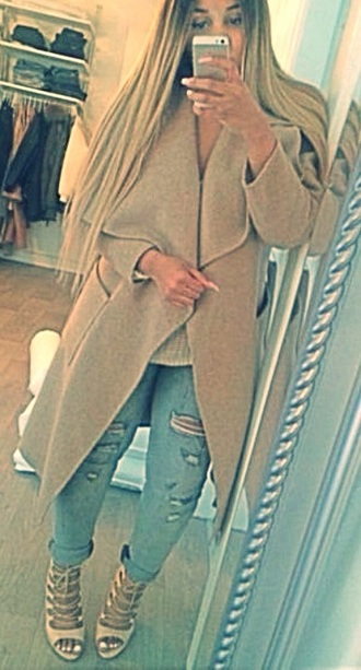 shoes beige shoes high heels long beige coat coat ripped jeans