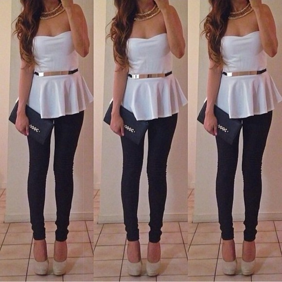 black gold cute belt shirt tube top white bag shoes sexy silver necklace high heels nude nude high heels peplum peplum top handbag yoga pants pants jewels